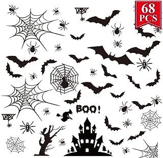 WEEPA Halloween Window Clings Decoration Bats Spiders 68 Pcs Halloween Bat Spider Window Sticker Decorations Party Supplies