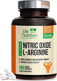 Extra Strength L Arginine Nitric Oxide Supplement 2010mg - Citrulline Malate, AAKG, Beta Alanine - Premium No Booster to Support Muscles, Strength, Vascularity & Energy to Train Hard - 180 Capsules