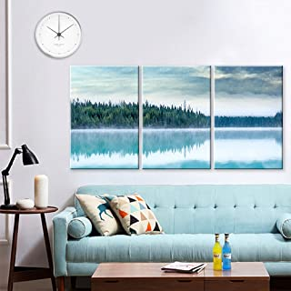 wall26 - 3 Panel Canvas Wall Art - Watercolor Painting Style Forest with Reflection on The Lake - Giclee Print Gallery Wrap Modern Home Decor Ready to Hang - 24