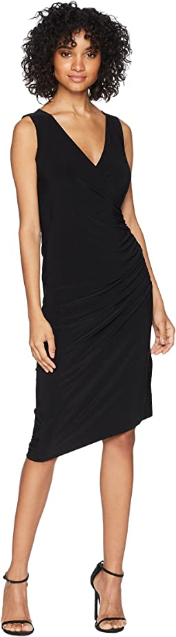 Sleeveless V-Neck Side Drape Dress