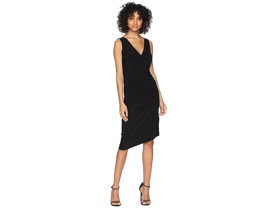 KAMALIKULTURE by Norma Kamali Sleeveless V-Neck Side Drape Dress (Black) Women