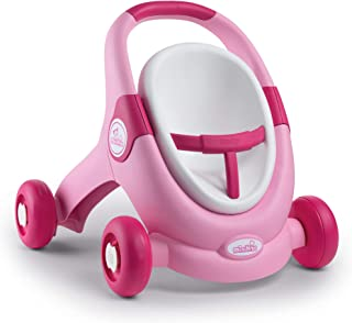 Smoby 210205 Minikiss 3-in-1 Walker Doll's Seat Doll's Pram for Children from 12 Months Pink