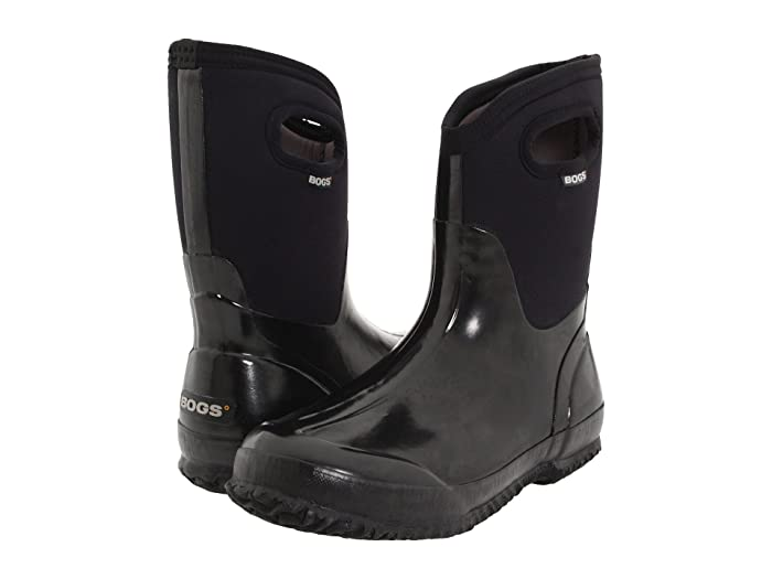 Bogs  Classic Mid Handle (Black Shiny) Womens Waterproof Boots
