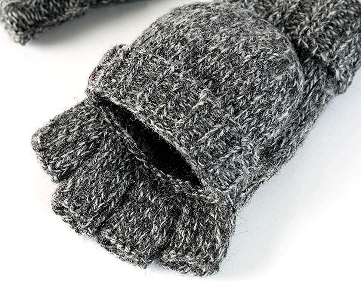 Winter Knitted Convertible Fingerless Gloves Wool Mittens Warm Mitten Glove for Women and Men(Dark gray)