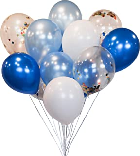 HomyBasic 12 inch Royal Blue, White, Light Blue & Confetti Balloons for Parties (Pack of 40)