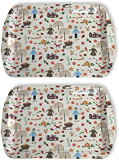 Thanksgiving Fall Themed Melamine Platter Tray Set of 2 Fall Harvest Pumpkins (Scarecrow, Tractors & Fall Friends)
