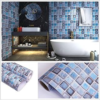 amazon com blue wallpaper borders wallpaper \u0026 wallpaperingmosaic tile contact paper self adhesive removable peel and stick wallpaper 3d effect glossy waterproof