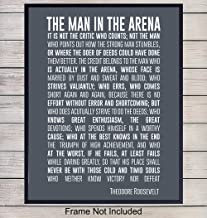 Teddy Roosevelt Man in the Arena Quote Wall Art Print - 8x10 Unframed Photo - Perfect Inspirational and Motivational Gift, Chic Home Decor