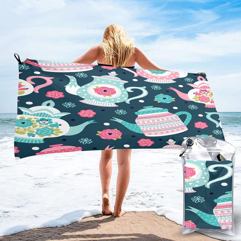 Flowers teapots Pattern Microfibre Pool Quic Travel Max 52% OFF Towels Super intense SALE Beach