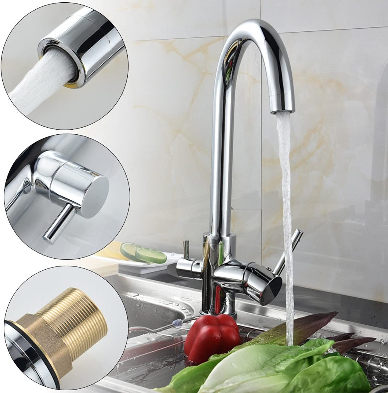 OUKANING 3-Way Drinking Tap Fitting for Water Filter Tap Kitchen Kitchen Tap Lever 360° redatable Mixer Tap Sink Filter System Sink Tap Water Crane
