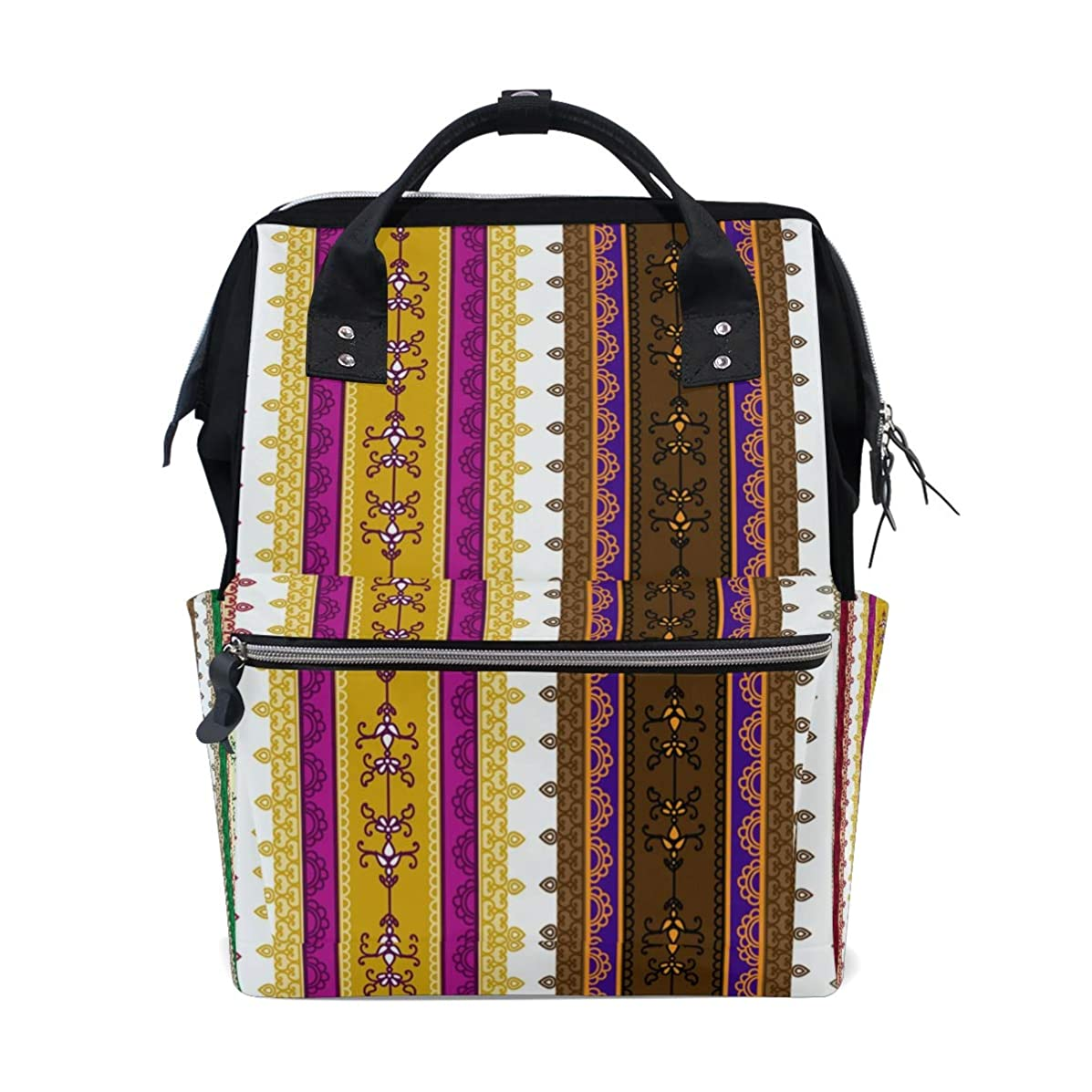 Boho Vintage Vertical Striped Pattern School Backpack Large Capacity Mummy Bags Laptop Handbag Casual Travel Rucksack Satchel For Women Men Adult Teen Children