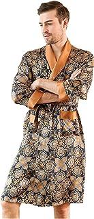 Pijama de Seda para Hombre camisón Estampado de Manga Larga Albornoz de Seda de Gusano de Seda Servicio a Domicilio Primavera y otoño Verano