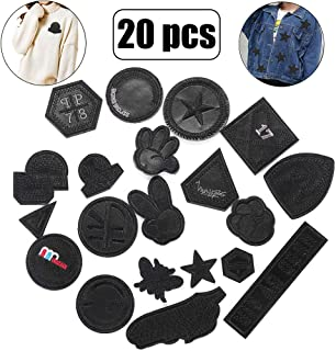 Mix Black Leather Iron on Jacket Patches- Military Embroidery Patches-Star Yeah Number Sew on Applique Patches-Delicate Patches for Women Kids Girls DIY Shoes, Backpacks, Clothes, Costumes Decor