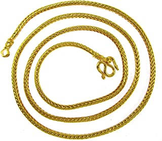Classy Thai Braided Link Fine Baht Chain Jewelry 24k Gold Plated 24