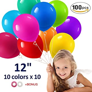 """Party Balloons, Rainbow Balloons 12"""" 100 Pieces Assorted Color Balloons for Celebration Birthday Party, Wedding, Proposal, Anniversary(Curling Ribbon Included)"""