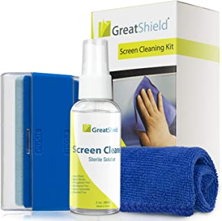 GreatShield LCD Touchscreen Cleaning Kit with Microfiber Cloth, Brush, Non-Alcoholic Spray Solution for Laptops, PC Monito...