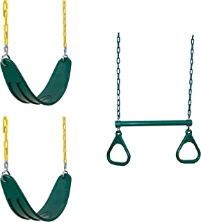 Swing-N-Slide WS 5103 Two Extreme Duty Green Swing Seats with a Heavy Duty Ring/Trapeze Combo Swing Swing Set Refresher Bundle, Green