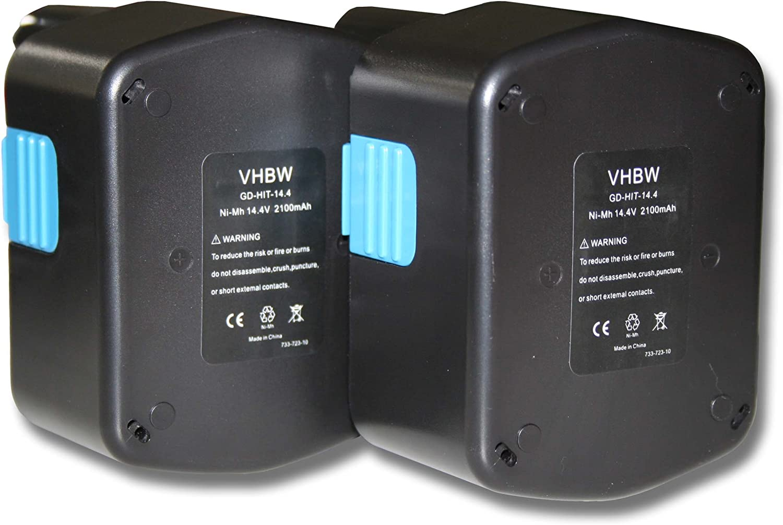 vhbw 2x batería Ni-MH 2100mAh (14.4V) para herramientas WH 14DMR, WH 14DSL, WR 14DH, WR 14DL y Hitachi 315128, 315129, 315130, 319104, 319933.