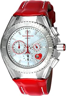 Technomarine Womens Cruise Stainless Steel Quartz Watch with Leather Calfskin Strap, red, 26 (