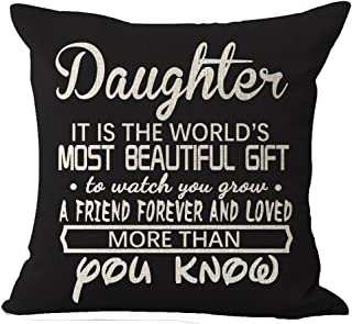 Best Gifts For Daughter Nordic Warm Sweet Sayings It Is The World's Most Beautiful Gift To Watch You Grow Cotton Linen Decorative Throw Pillow Case Cushion Cover Square 18