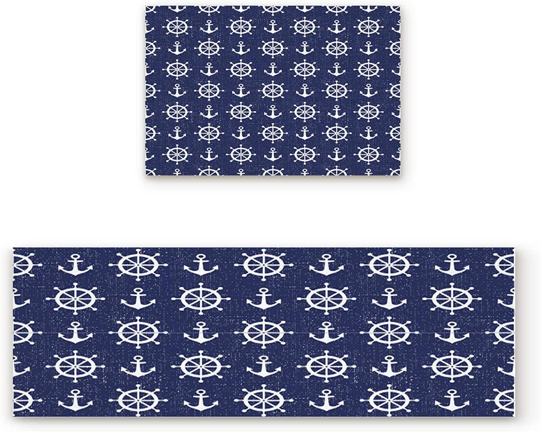 SODIKA Non Slip Kitchen Rug Set 2 Piece, Floor Mat Carpet Runner,Nautical Theme Anchor (19.7x31.5in+19.7x47.2 inches)