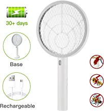 Teniswatter Electric Bug Zapper Fly Swatter Zap Mosquito Indoor Outdoor Pest Control, Powerful Grid, USB Rechargeable, LED Lighting w/Base, 3 Layers Mesh, White