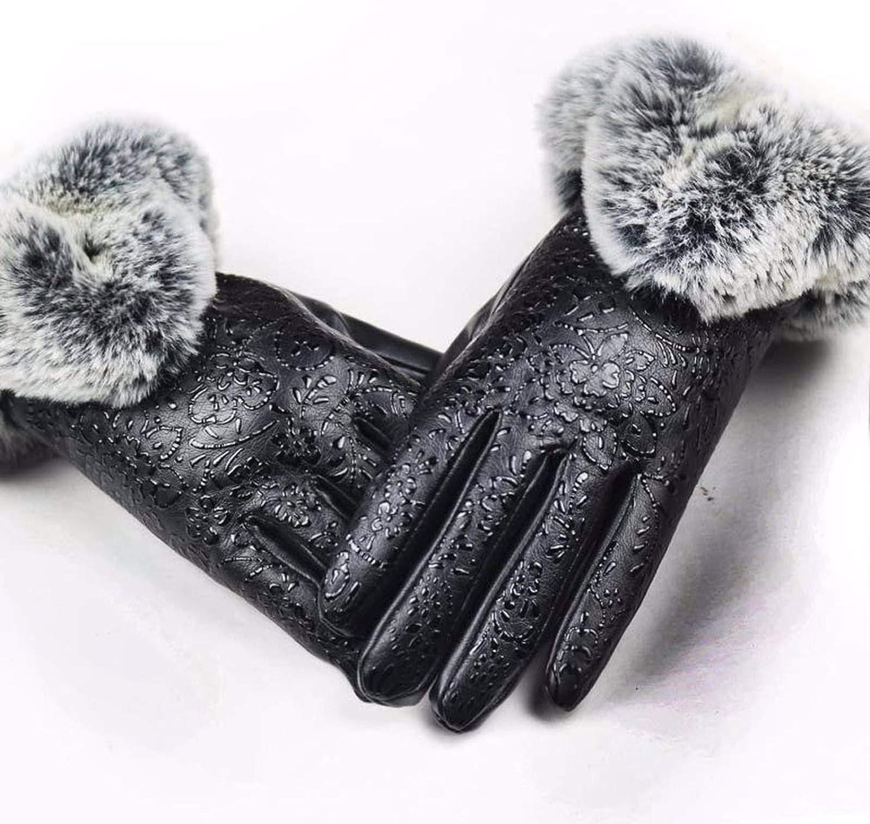 NC Real Sheepskin Fox Fur Gloves,Women's Genuine Leather Glove Winter Warm Fashion Style Natural Fluffy Fox Fur Oversized Guantes