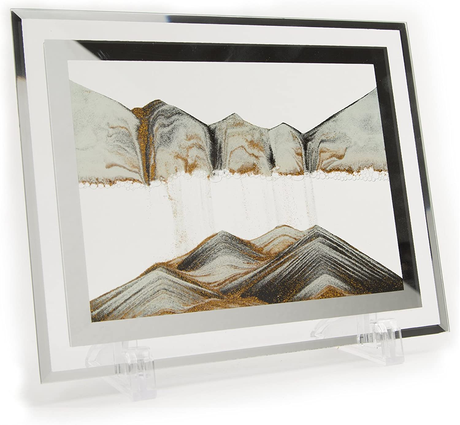 YayaCat Moving Sand Art Picture Sandscapes in Motion Office Desktop Art Decor Toys Large Size (12  X 9.84 , golden,Black,White)