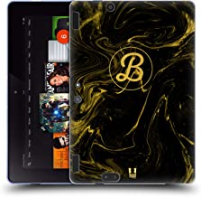 Custom Customized Personalized Liquid Marbling Black and Gold Monogram Soft Gel Case Compatible for Amazon Kindle Fire HDX 8.9