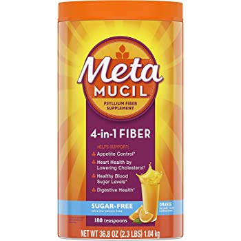 Metamucil Sugar-Free Fiber Supplement, 180 Servings, 4-in-1 Psyllium Husk Powder, Orange Flavored Drink, 36.8 Ounce, 2.3 Pound