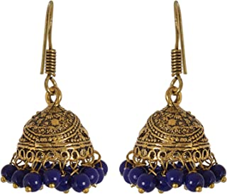 Traditional Blue Color Jhumka Jhumki Indian Earrings Jewelry for Girls and Women