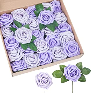 Manmon Purple Roses Artificial Flowers 25pcs African Violet Fake Rose with Stem for Wedding Centerpieces Bouquets Party Shower DIY Home Decorations