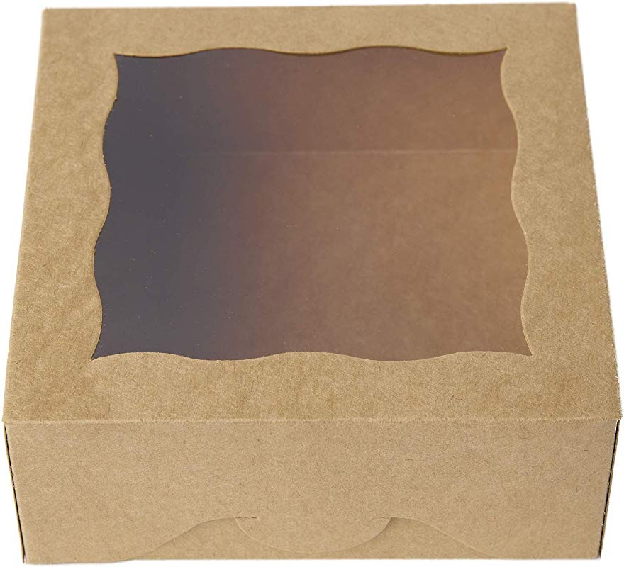 25pcs ONE MORE 6 Brown Bakery Boxes With Pvc Window For Pie And Cookies Boxes Small Natural Craft Paper Box 6x6x2 5inch Brown 25