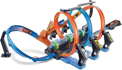 Hot Wheels FTB65 - Action Korkenzieher Crash Trackset, Auto Rennbahn mit 3 Loopings und Beschleuniger für Spielzeugautos, Spielzeug ab 5 Jahren