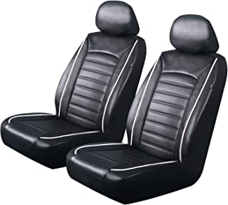 PIC AUTO Luxury Front Car Seat Covers, Waterproof PU Leather with White Piping, Heavy Duty, Airbag Compatible, Fit Most Cars, SUVs and Vans, Black/White, Low Back(4PCS)
