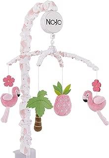 Nojo Tropical Flamingo Nursery Crib Musical Mobile With Plush Pink Flamingos, Flowers, Palm Tree & Pineapple, Pink, White, Green