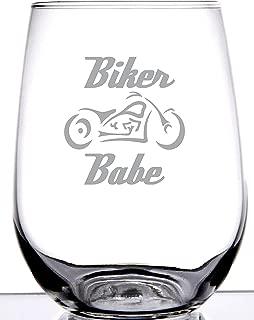 Biker Babe Stemless Wine Glass | Laser Etch Embedded Design | Motorcycle Biker Girl Woman | 15 Ounce