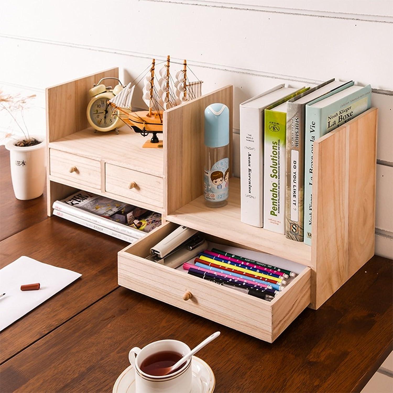 Desktop Wood Bookshelf Simple Desk Bookcase Desk Storage Rack