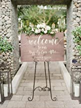 Rustic Welcome Sign for Weddings: Display Date & Couple Name, Personalized Welcome Wedding Sign, Weathered Oak Stain Wood Sign, Wedding & Reception Decorations