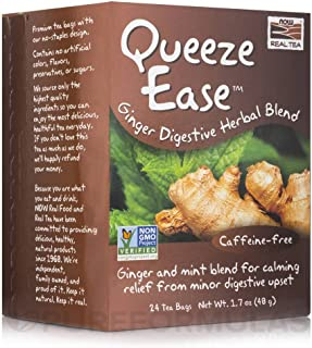 Now Foods Queeze Ease Ginger Digestive Herbal Blend Tea 24 Tea Bags