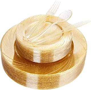 WDF 40 ضيوف أطباق ذهبية مع أدوات المائدة البلاستيكية أحادية الاستخدام بتصميم لامع ذهبي تشمل 40 طبق عشاء، 40 طبق سلطة، 40 ش...