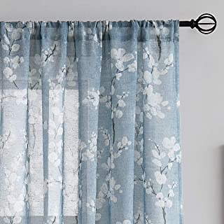 Blue-White Sheer Curtains for Living-Room 84