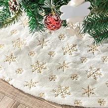 Amidaky Christmas Tree Skirt 48 inches White Faux Fur Gold Snowflake Sequin Embroidered Luxury Tree Skirt Xmas Decoration