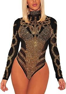 ENLACHIC Women's Sexy Rhinestone Bodysuits Sequin See Through Mesh Clubwear