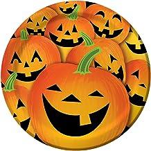 8-Count Round Paper Dinner Plates, Halloween Pumpkin Tricks