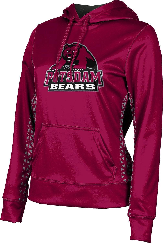 State University of New York at Potsdam Girls' Pullover Hoodie, School Spirit Sweatshirt (Geometric) F9BA5 Red and Gray