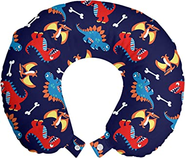 Ambesonne Dinosaur Travel Pillow Neck Rest, 3 Different Cartoon Dinosaurs Funny Expressions and Bones Theme, Memory Foam Trav