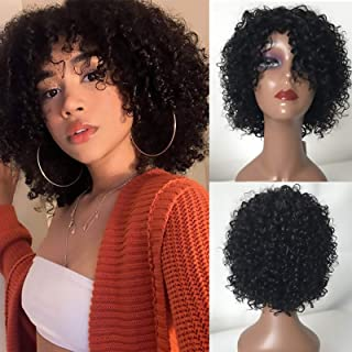 TodayOnly Short Kinky Curly Human Hair Wigs 10Inch None Lace Front Wig with Bangs for Black Women 10A Virgin Hair Short Bo...