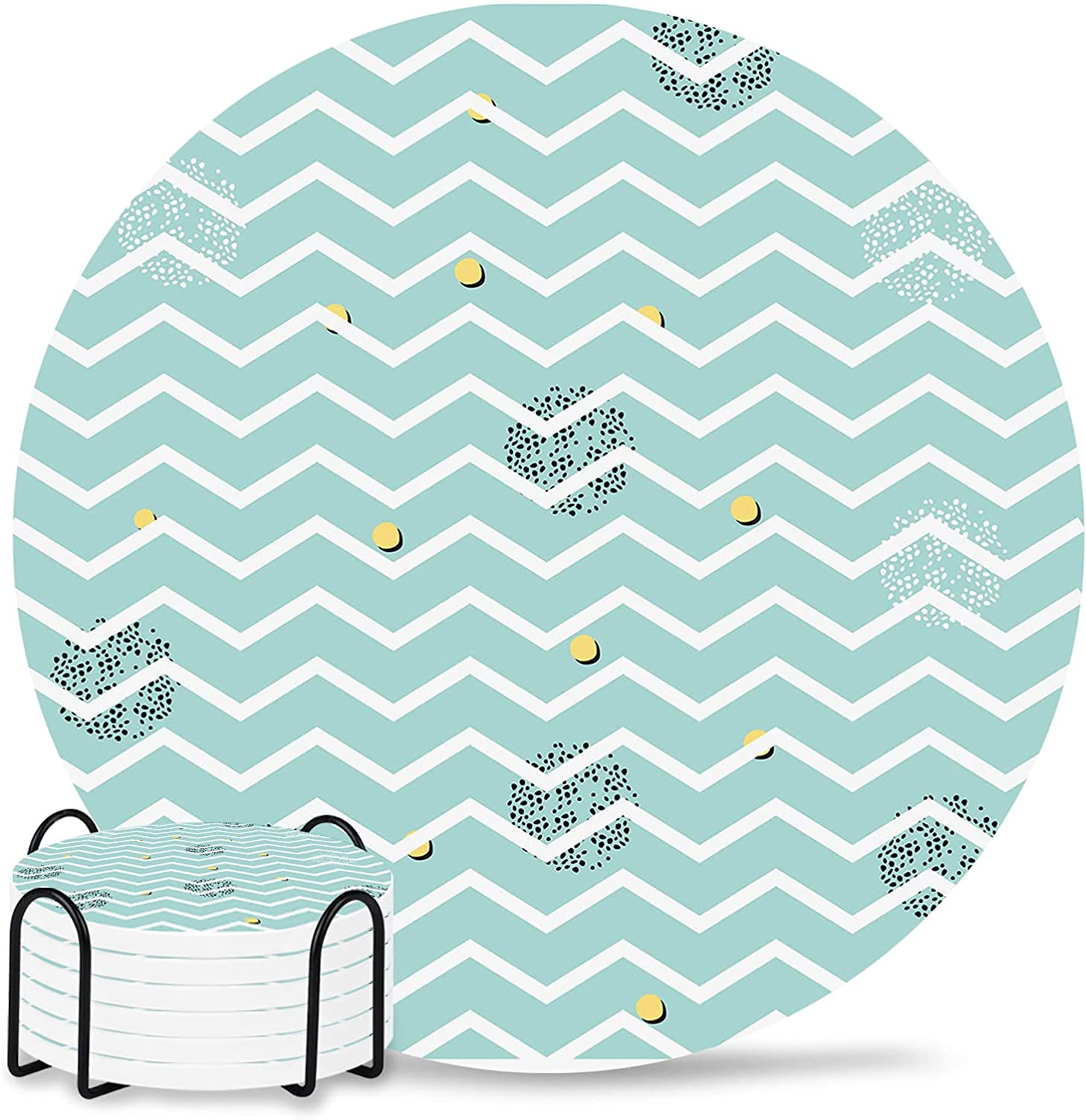 Alternative dealer Striped Decor Coasters Round Drinks with Set Absorbent Dallas Mall Coaster