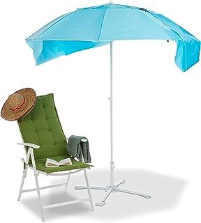 Relaxdays, Azul, sombrilla Playa Cortavientos con Bolsa, 210 x 180 cm